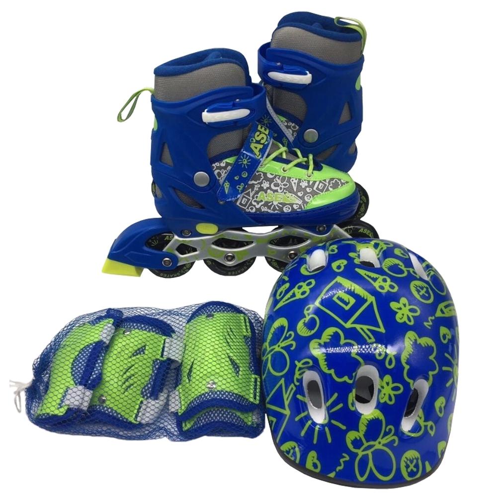 Ролики и скейтборды ASE-SPORT Набор: ролики, защита, шлем Ase-sport «ASE-620 Combo» blue-green XS (27-30) ase 608 s