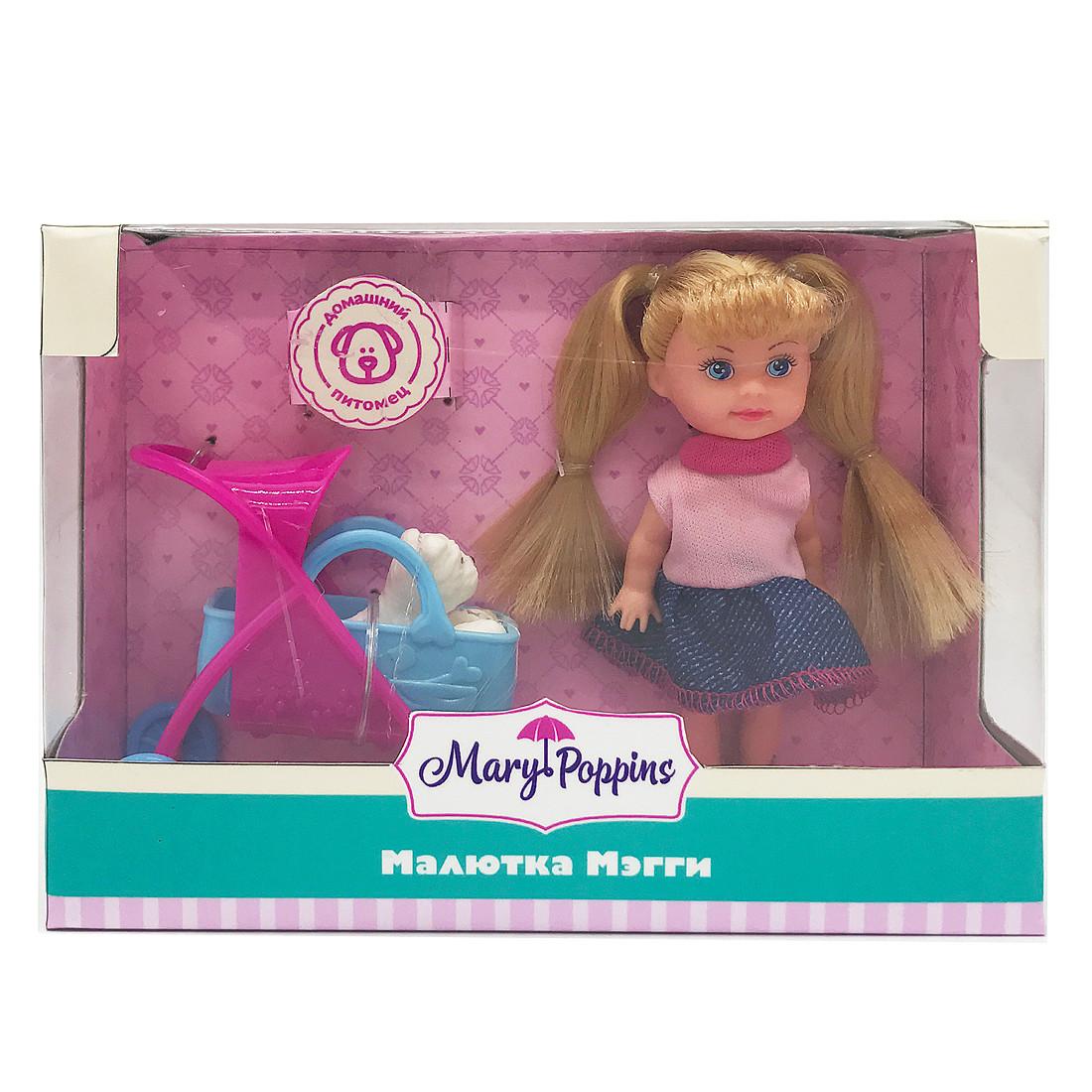 Другие куклы Mary Poppins Кукла Mary Poppins «Малютка Мэгги: Прогулка с питомцем» 9 см детские зонтики mary poppins автомобиль 46 см