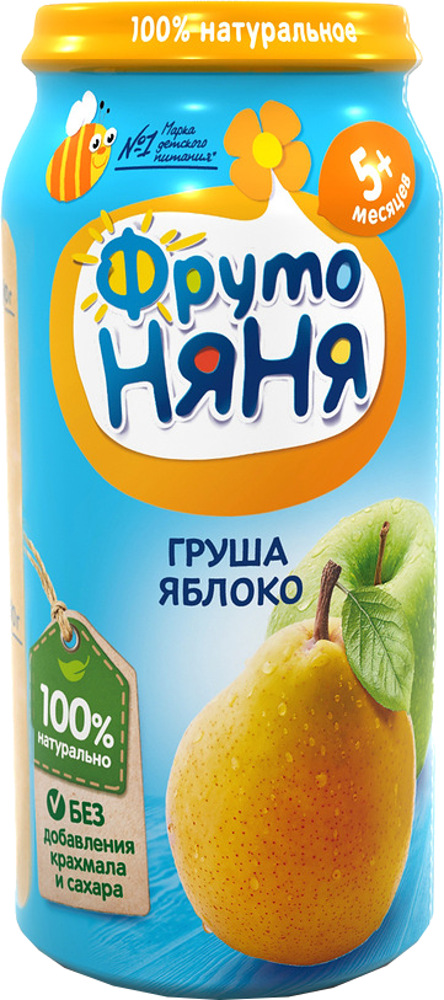 Пюре Фрутоняня Пюре ФрутоНяня из груш и яблок с 5 мес. 250 г фрутоняня пюре из яблок бананов и груш с печеньем с 6 месяцев 250 г