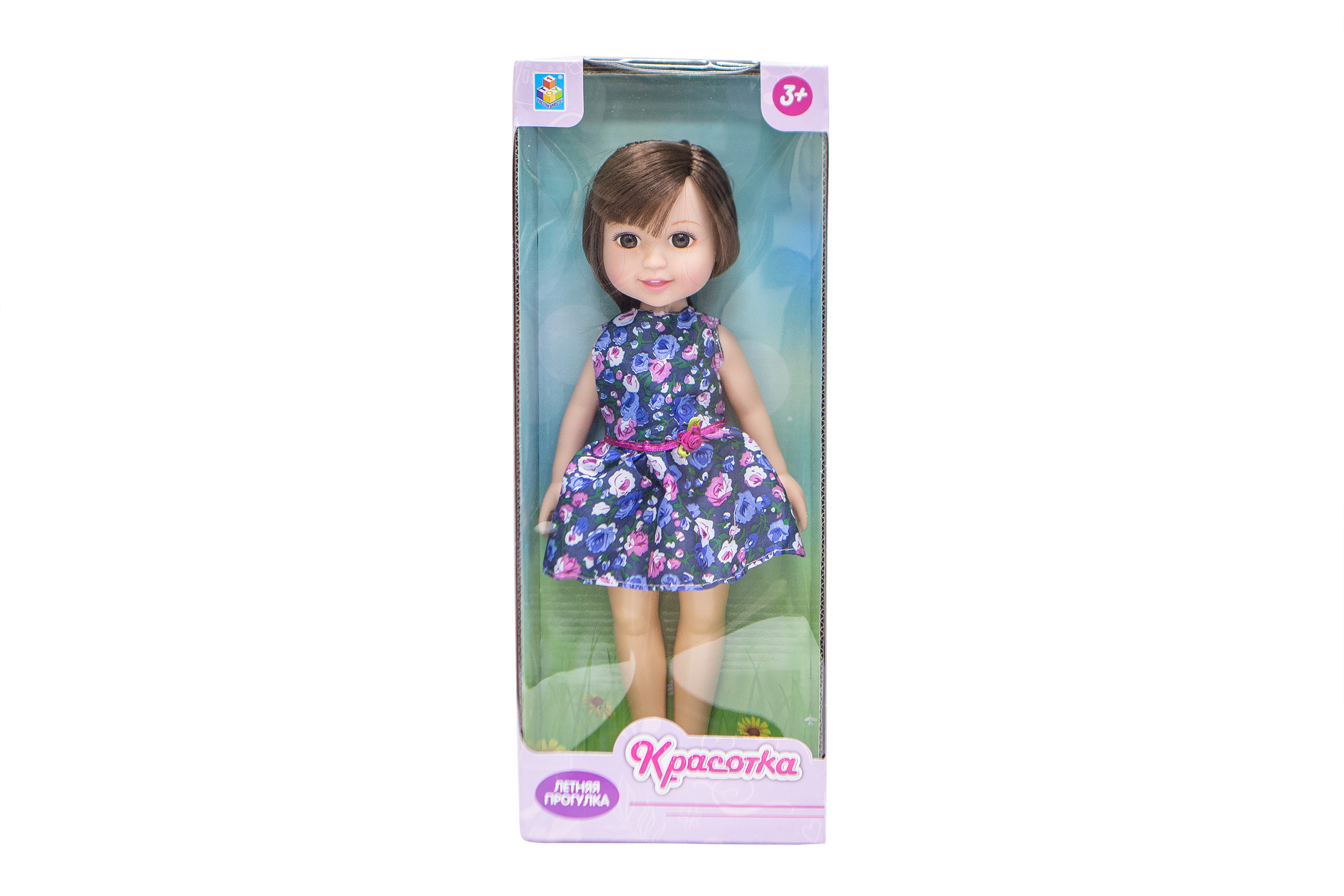 Классические куклы 1toy Кукла 1Toy «Красотка. Летняя прогулка» брюнетка, синее платье fox платье темно синее
