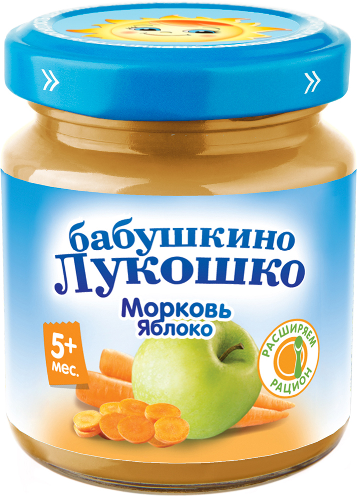 Фруктовое Бабушкино лукошко Бабушкино Лукошко Морковь-яблоко (с 5 месяцев) 100 г бабушкино лукошко яблоко банан пюре с 6 месяцев 12 шт по 90 г