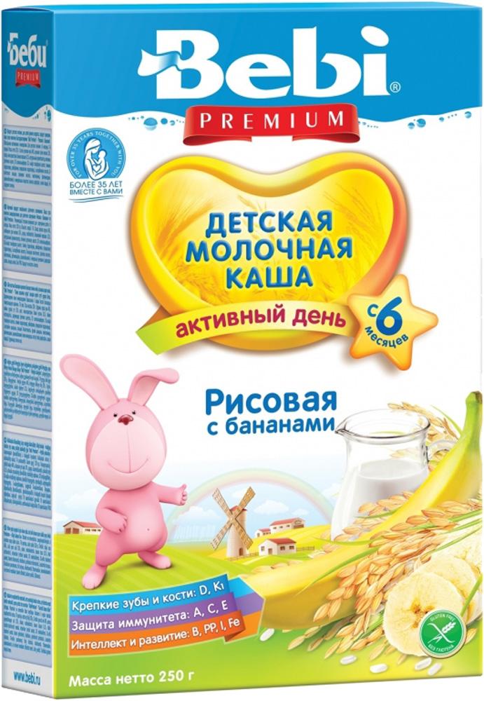 Молочные Bebi Каша молочная Bebi Premium «Активный день» рисовая с бананом с 6 мес. 250 г каша bebi рисовая молочная