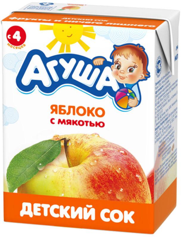 Соки и нектары Агуша Агуша Яблоко с мякотью с 4 мес. 200 мл пюре агуша яблоко груша с 5 мес 200 гр