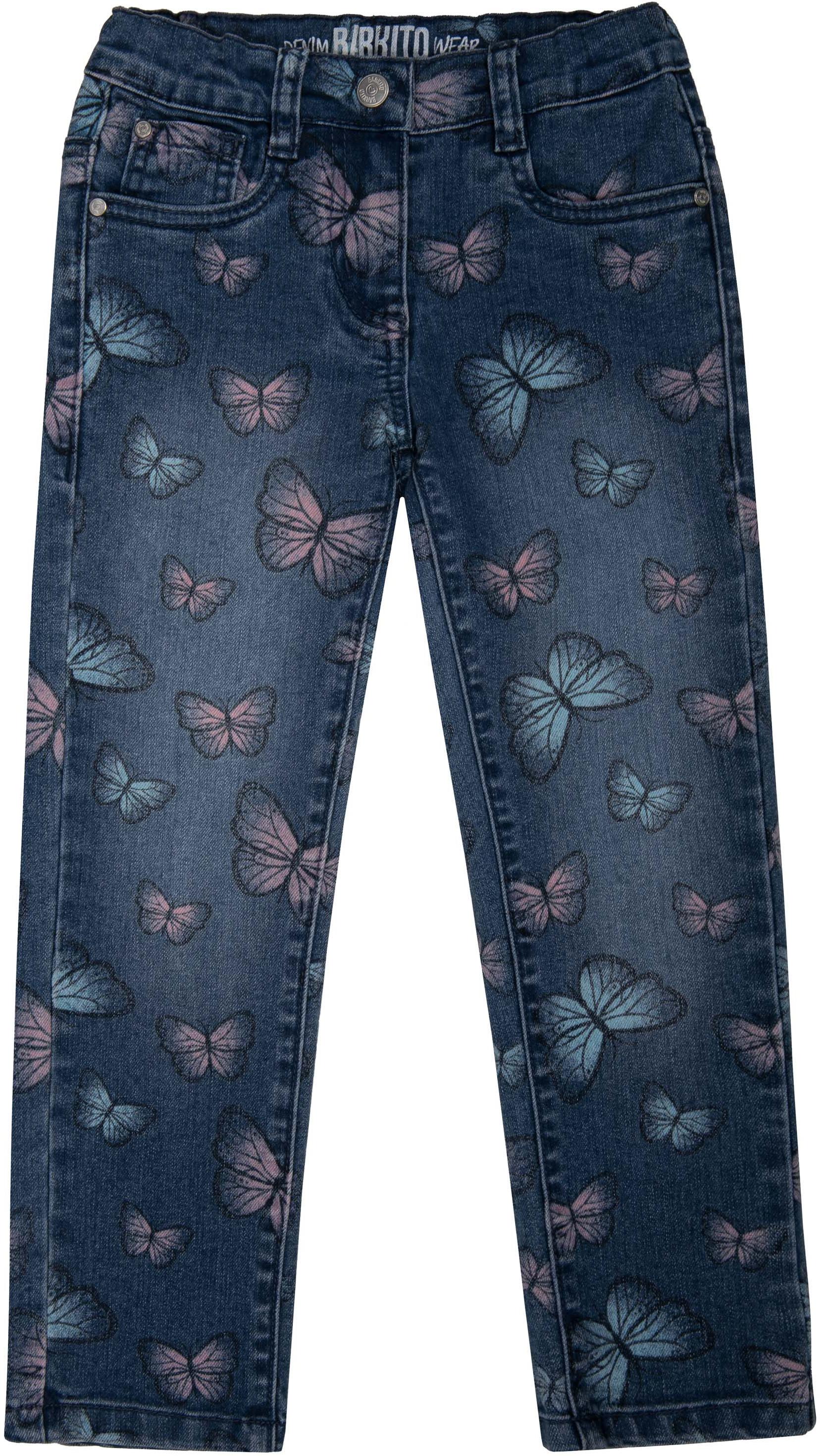 цена на Джинсы Barkito Брюки модель Джинсы для девочки Barkito Деним, голубые с рисунком бабочки