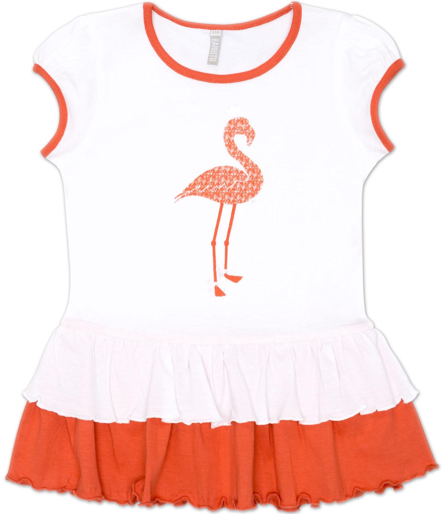 Блузки и туники Barkito Туника трикотажная с коротким рукавом для девочки Barkito, Фламинго, бело-оранжевая