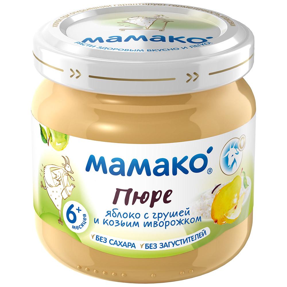 Фруктовое МАМАКО' Пюре Мамако Яблоко, груша и козий творожок с 6 мес. 80 г бибиколь пюре яблоко и козий творожок с 6 месяцев 80 г