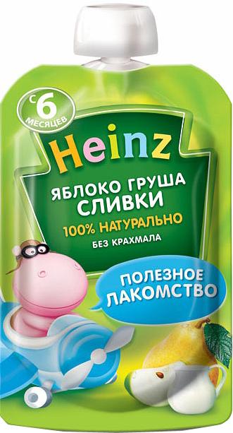 Купить Пюре, Heinz Яблоко, груша, сливки (с 6 месяцев) 90 г, 1шт., Heinz 4600689603590, Россия
