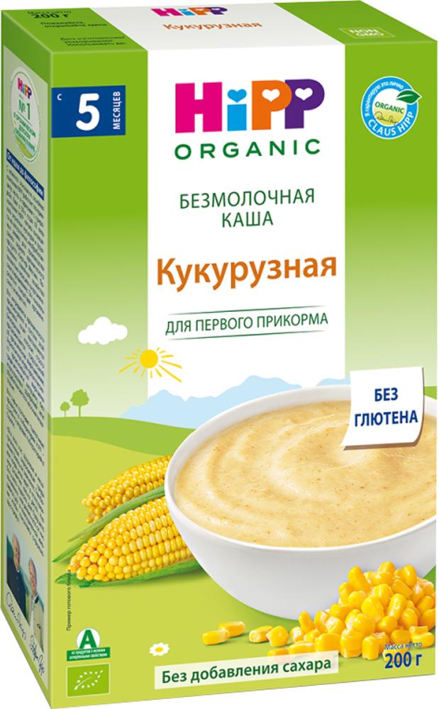 Каша HIPP Каша HiPP безмолочная кукурузная (с 5 месяцев) 200 г овощное hipp hipp брокколи с 4 месяцев 80 г