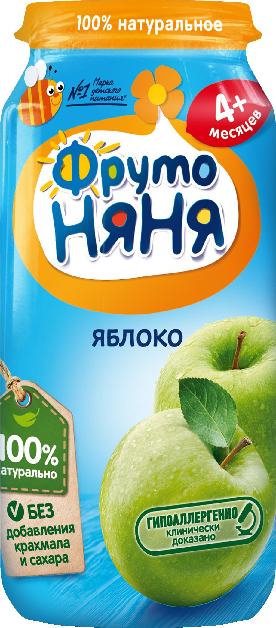 Пюре Прогресс ФрутоНяня Из яблок (с 4 месяцев) стеклянная банка 250 г
