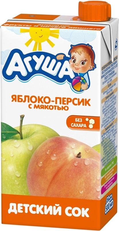 Сок Вимм-Билль-Данн Агуша Яблоко и персик с мякотью с 3 лет 500 мл напитки агуша агуша вода и сок яблоко с 12 мес 300 мл